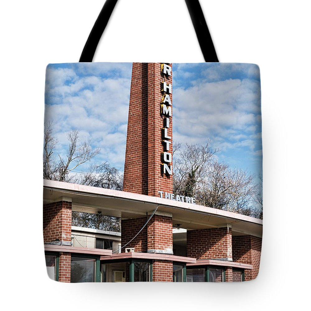 Knoxville Tote Bag featuring the photograph Homer Hamilton Theatre Sign by Sharon Popek