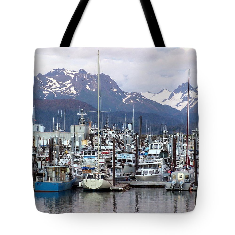 Homer Alaska Tote Bag featuring the photograph Homer Harbor by Marty Koch