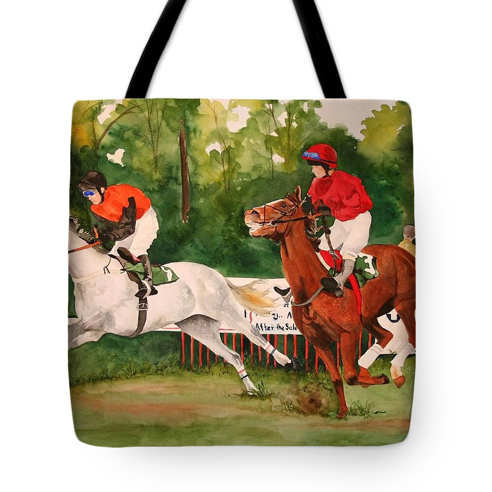 Racing Tote Bag featuring the painting Homestretch by Jean Blackmer