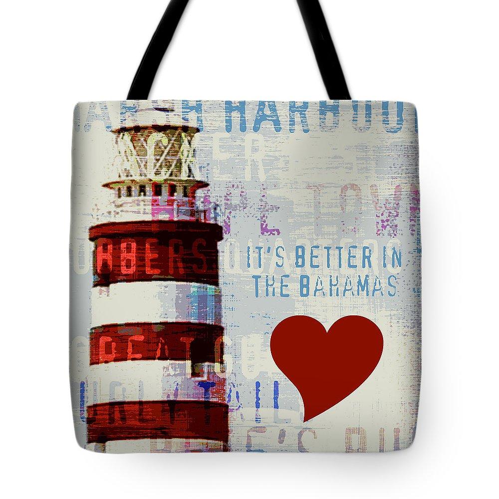 Brandi Fitzgerald Tote Bag featuring the digital art Hometown Bahamas Lighthouse by Brandi Fitzgerald