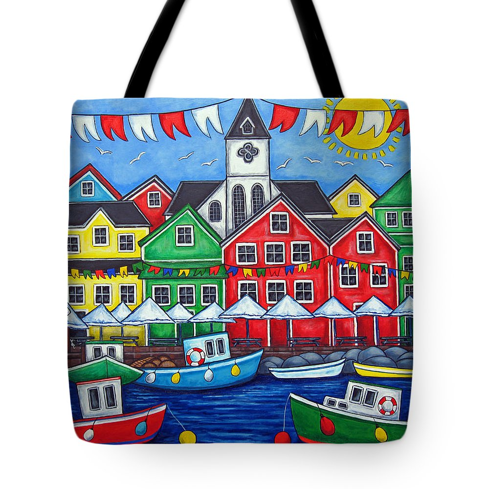 Boats Canada Colorful Docks Festival Fishing Flags Green Harbor Harbour Tote Bag featuring the painting Hometown Festival by Lisa Lorenz