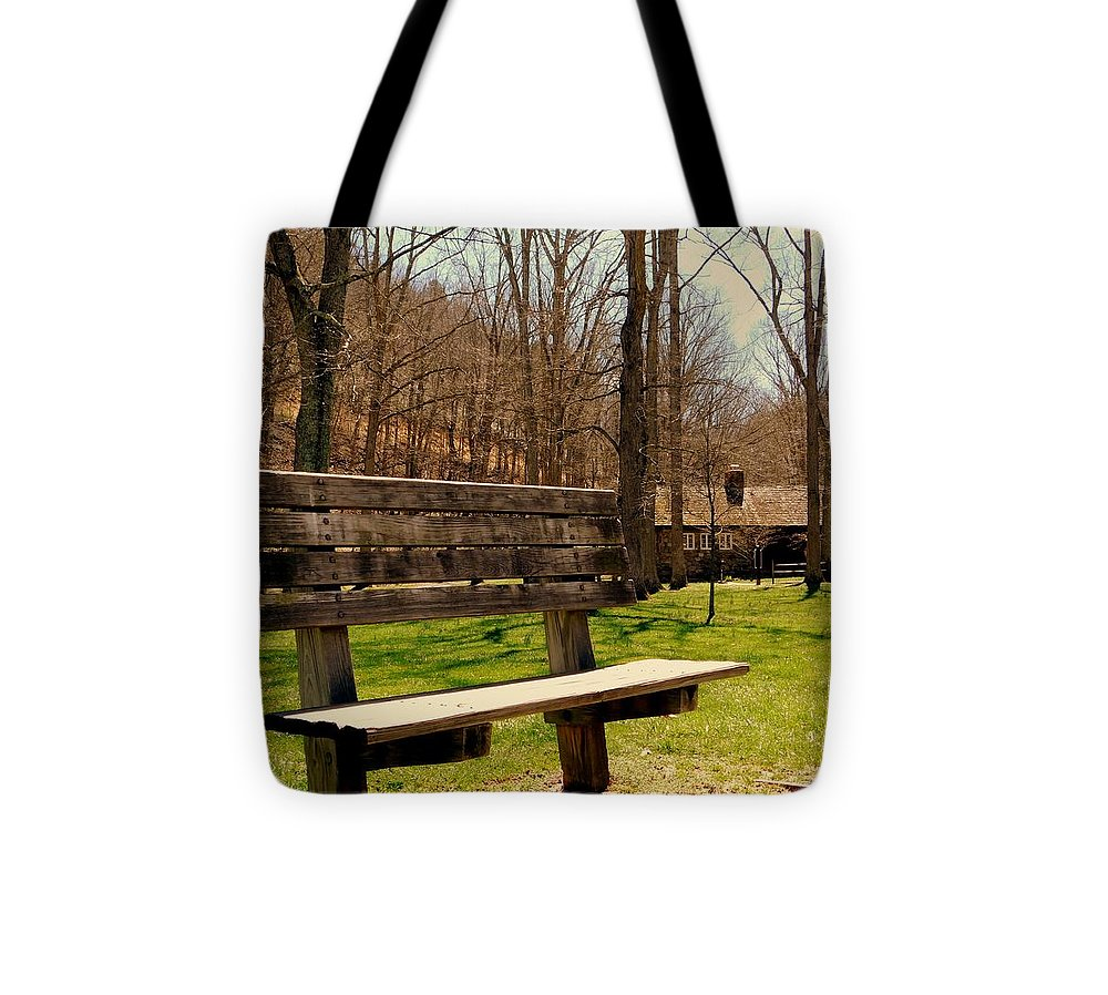 Bench Tote Bag featuring the photograph Hometown Series - Have A Seat by Arlane Crump