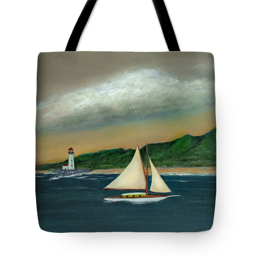 Ocean Seascape Sailboat Lighthouse Shoreline Nature Travel Gordon Beck Art Tote Bag featuring the painting Homeward by Gordon Beck