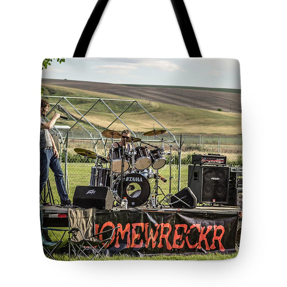 Lewiston Idaho Id Clarkston Washington Wa Lc-valley Lc Valley Pacific Northwest Lewis Clark Landscape Palouse Home Wrecker Wreckr Homewreckr Band Fairgrounds Roundup Rock And Roll Playing Tote Bag featuring the photograph Homewreckr by Brad Stinson
