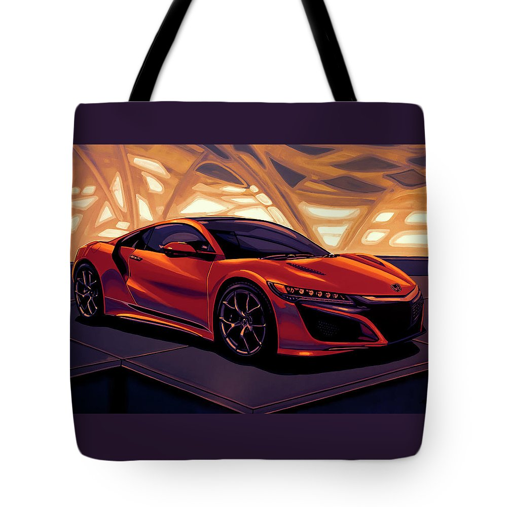 Honda Nsx Tote Bag featuring the mixed media Honda Acura Nsx 2016 Mixed Media by Paul Meijering