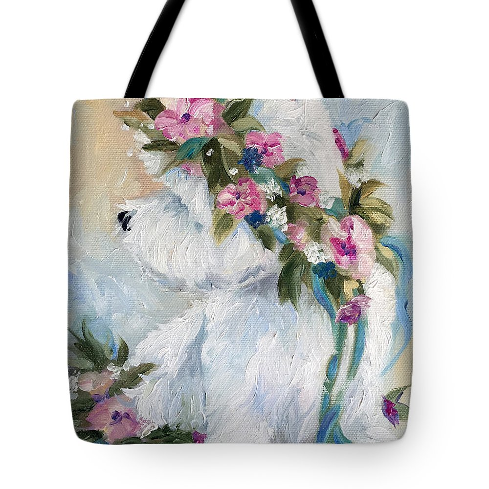 Westie Tote Bag featuring the painting Honey by Mary Sparrow