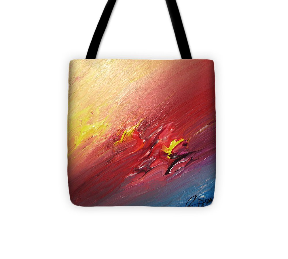 Abstract Tote Bag featuring the painting Honeymoon Bliss - A by Brenda Basham Dothage