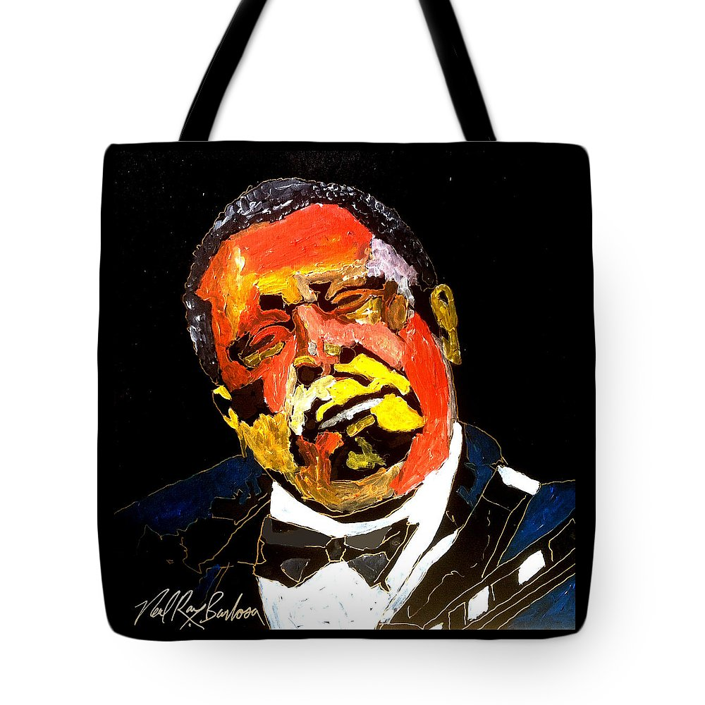Bb King Tote Bag featuring the painting Honoring The King 1925-2015 by Neal Barbosa
