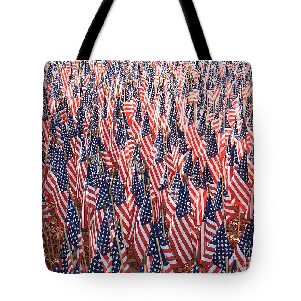 Veterans Memorial Tote Bag featuring the photograph Honoring Those Who Have Sacrificied All by Carol Groenen