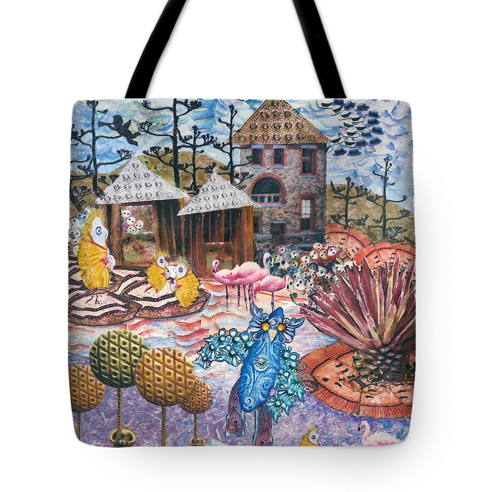 Abstract Tote Bag featuring the mixed media Hoo Is Watching The Chicken Coop by Valerie Meotti