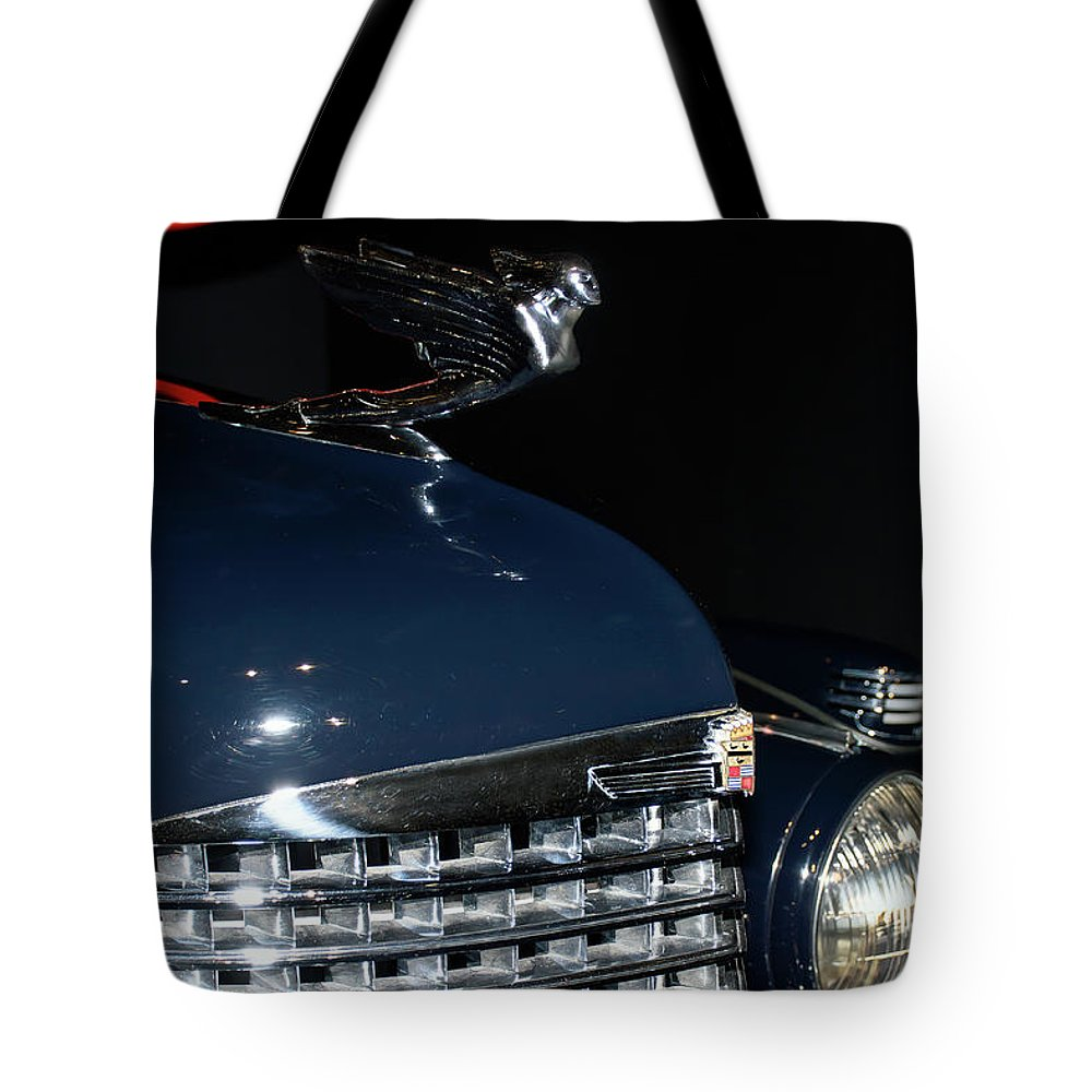 Automotive Photography Tote Bag featuring the photograph Hood Ornament-1938 Cadillac V-16 Town Sedan by John Bartelt