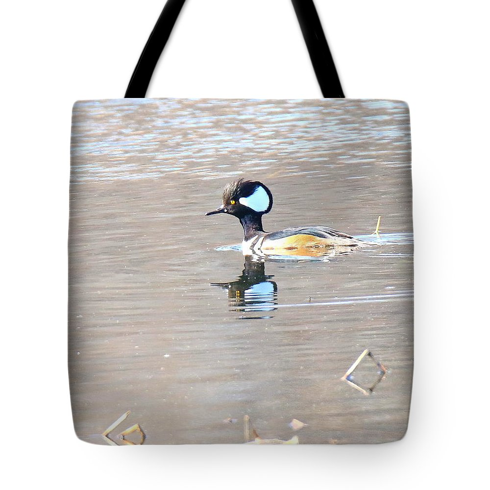 Hooded Tote Bag featuring the photograph Hooded Merganser by Arvin Miner