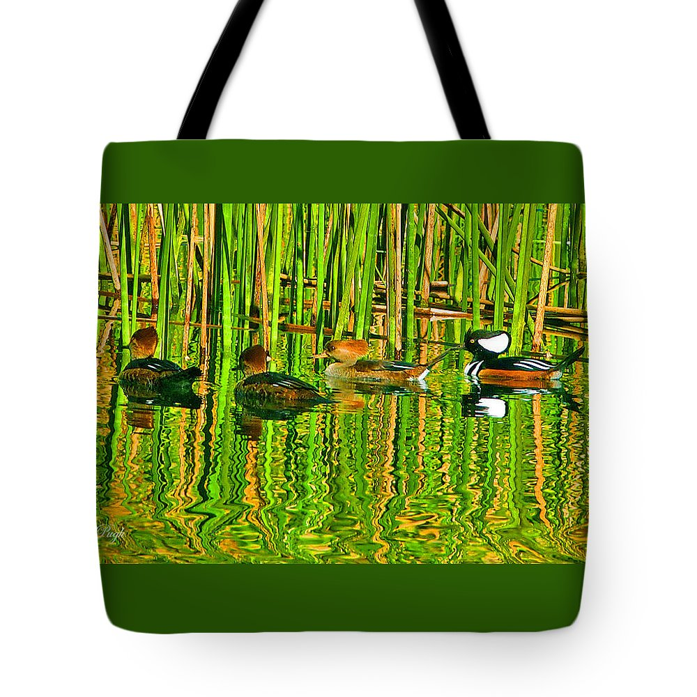 Ducks Tote Bag featuring the photograph Hooded Merganser Family by Dorothy Pugh