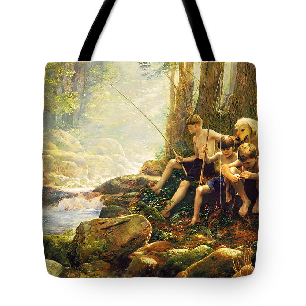 Fishing Tote Bag featuring the painting Hook Line And Summer by Greg Olsen