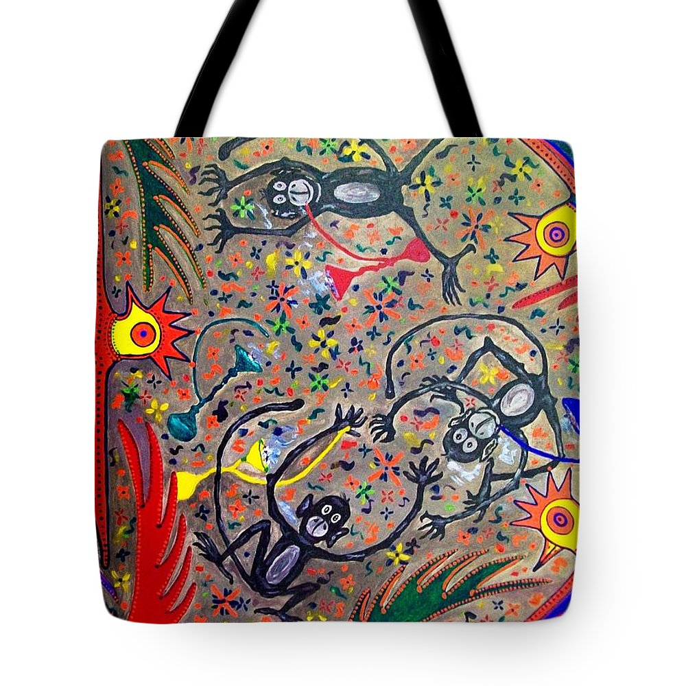 Contemporary Folk Art Tote Bag featuring the painting Hookah Monkeys - Jinga Monkeys Series by Fareeha Khawaja