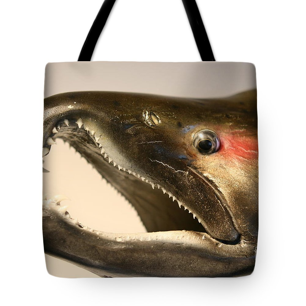 Salmon Tote Bag featuring the photograph Hooked by Rick Monyahan