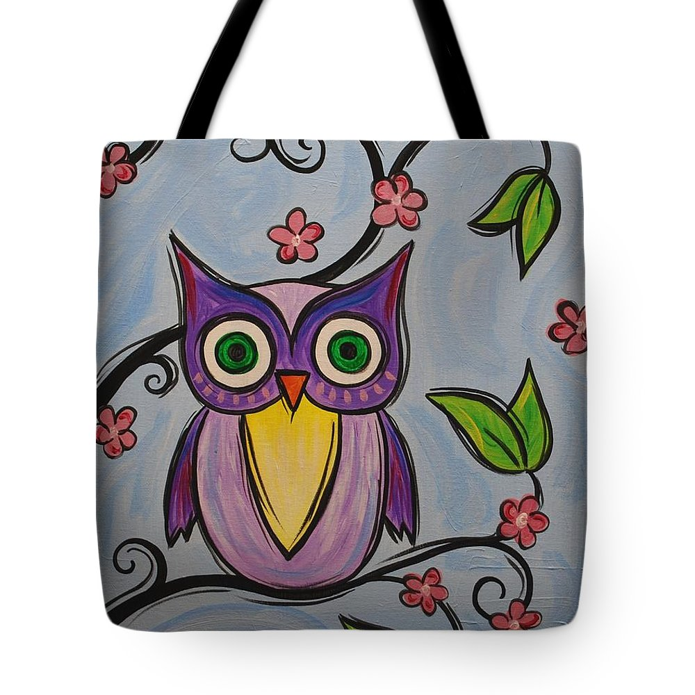 Owl Bird Tote Bag featuring the painting Hootie by Emily Page