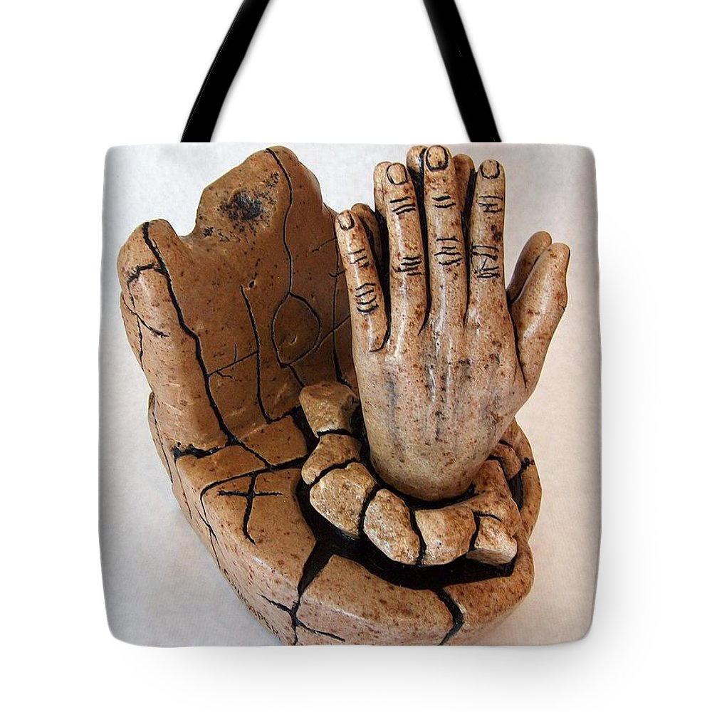 Sculpture Tote Bag featuring the sculpture Hope by C W Hooper