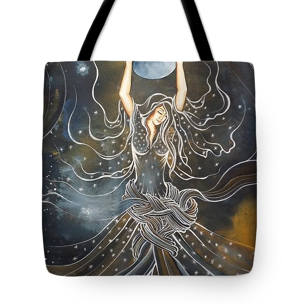 Portrait Tote Bag featuring the painting Night by Fatemeh RezaeeFar