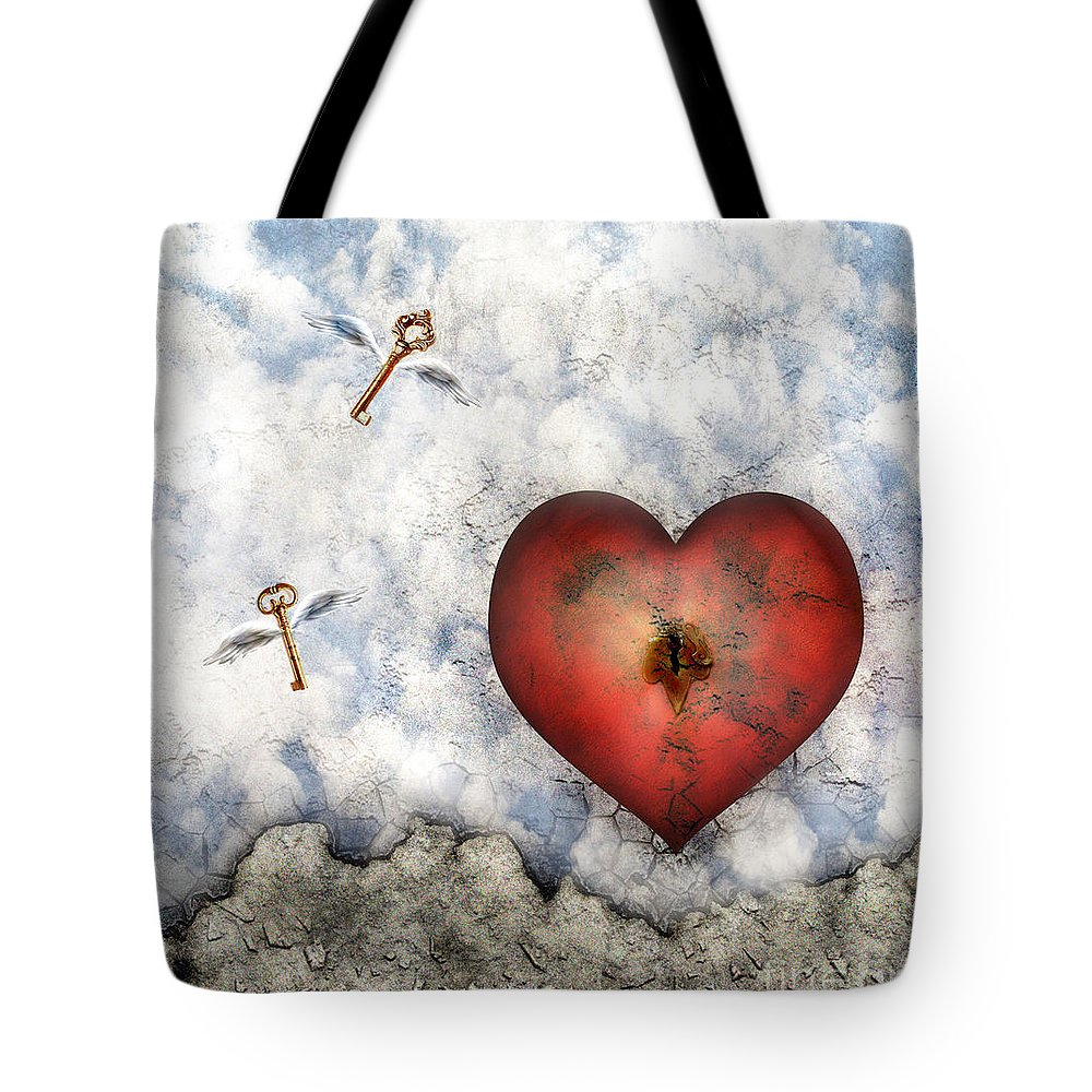 Heart Tote Bag featuring the digital art Hope Floats by Jacky Gerritsen