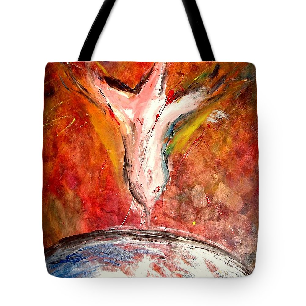 Hope Tote Bag featuring the painting Hope For The World by Jun Jamosmos