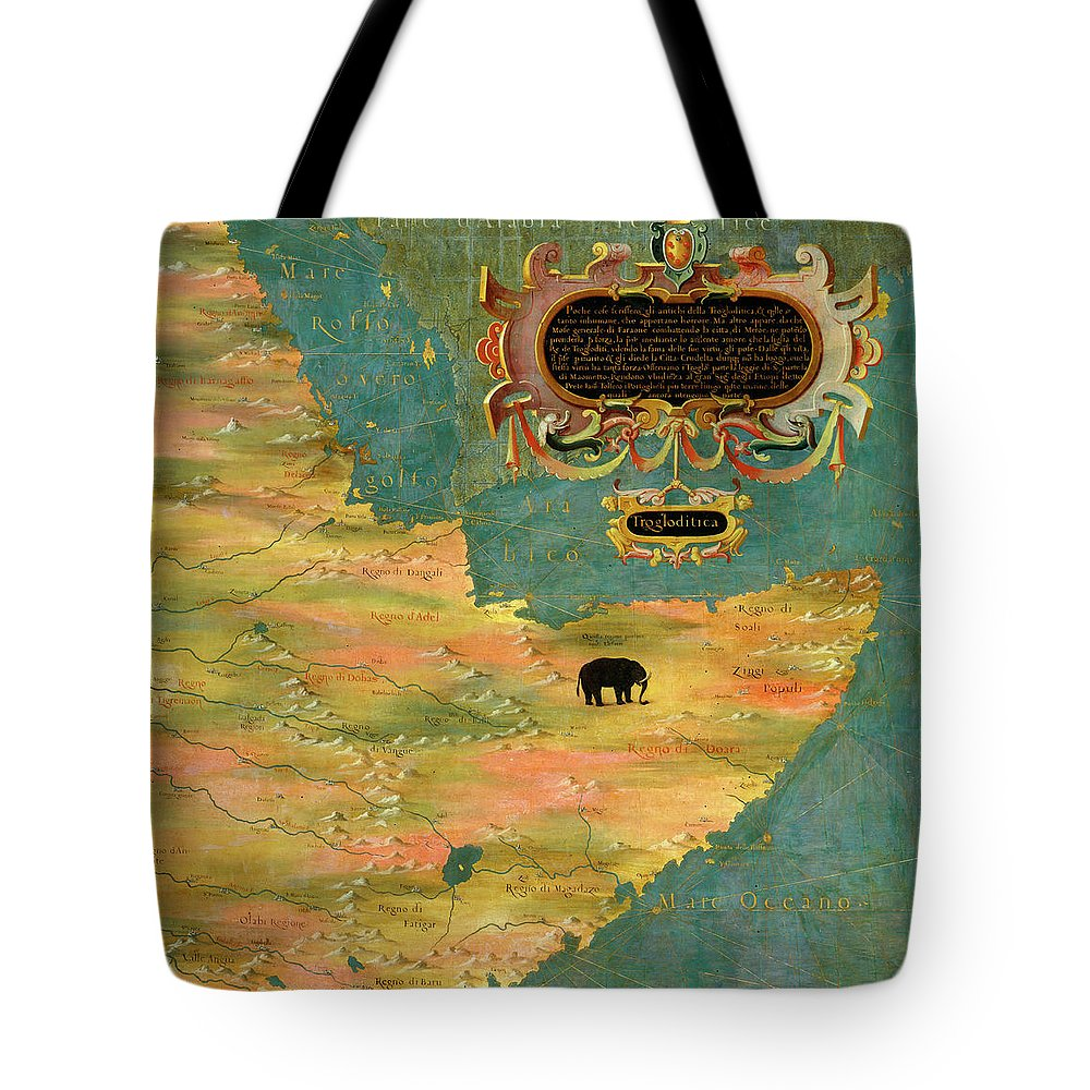 Map Tote Bag featuring the painting Horn Of Africa, Ethiopia And Somalia by Italian painter of the 16th century