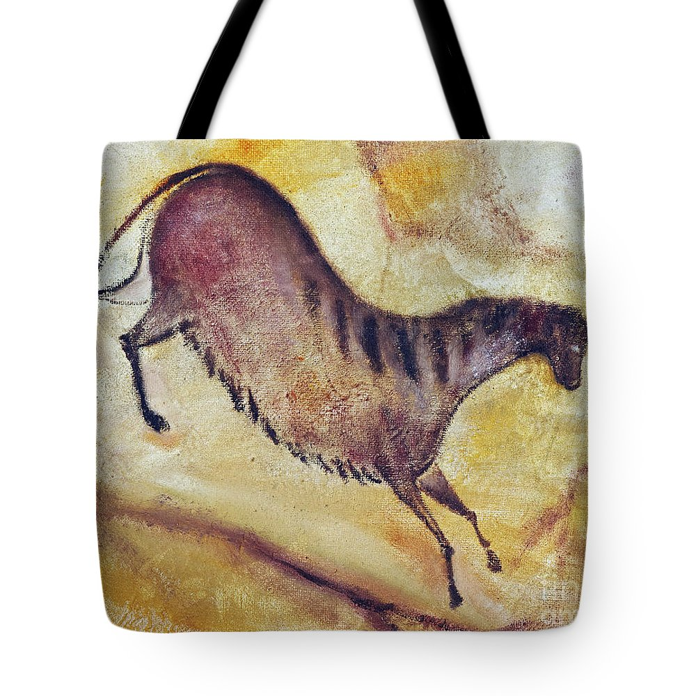Prehistoric Tote Bag featuring the painting Horse A La Altamira by Michal Boubin