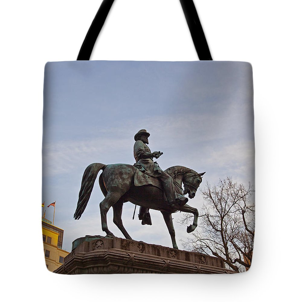 Statue Tote Bag featuring the photograph Horse And Rider Monument by Amy Jackson