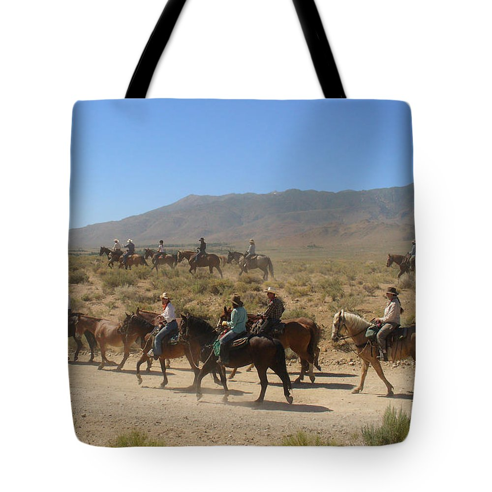 Horses Tote Bag featuring the photograph Horse Drive From June Lake To Bishop California by Christine Till