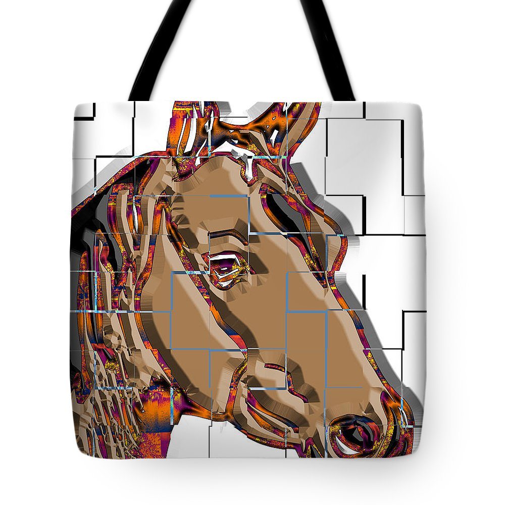 Pop Art Tote Bag featuring the digital art Horse Faces Of Life 4 by Dalon Ryan