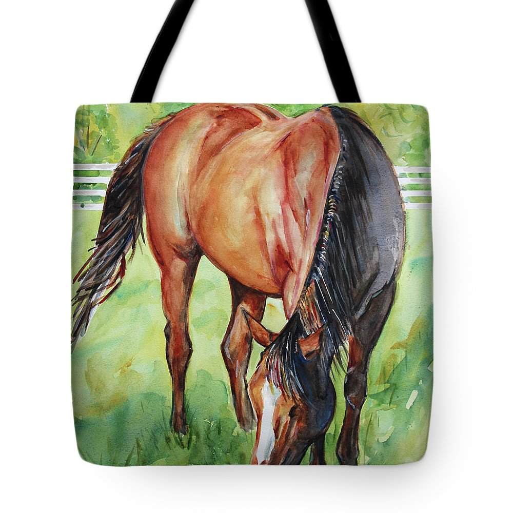 Horse Art Tote Bag featuring the painting Horse Grazing by Maria Reichert