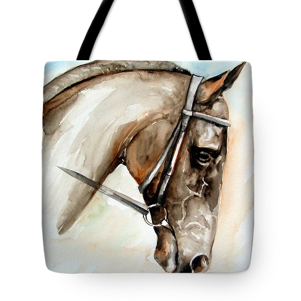 Horse Tote Bag featuring the painting Horse head by Leyla Munteanu