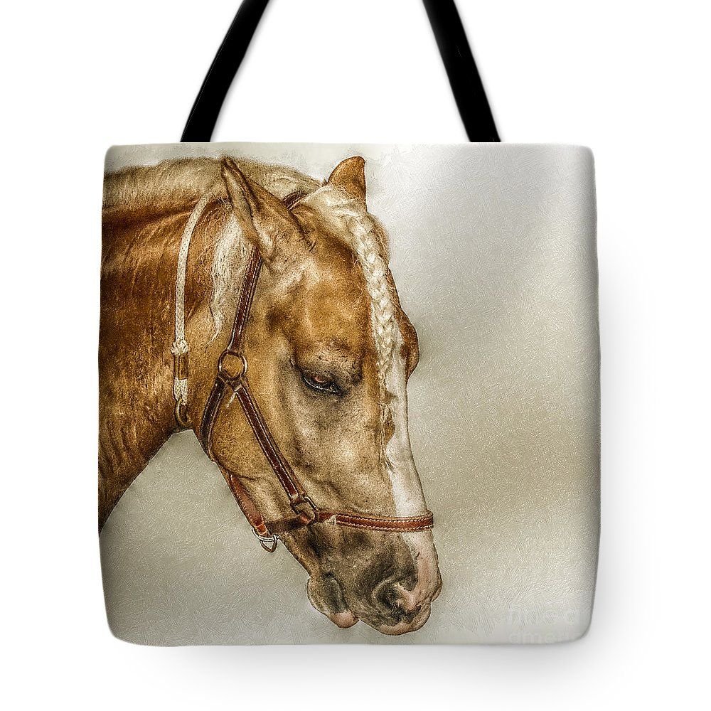 Horse Tote Bag featuring the digital art Horse Head Portrait by Randy Steele