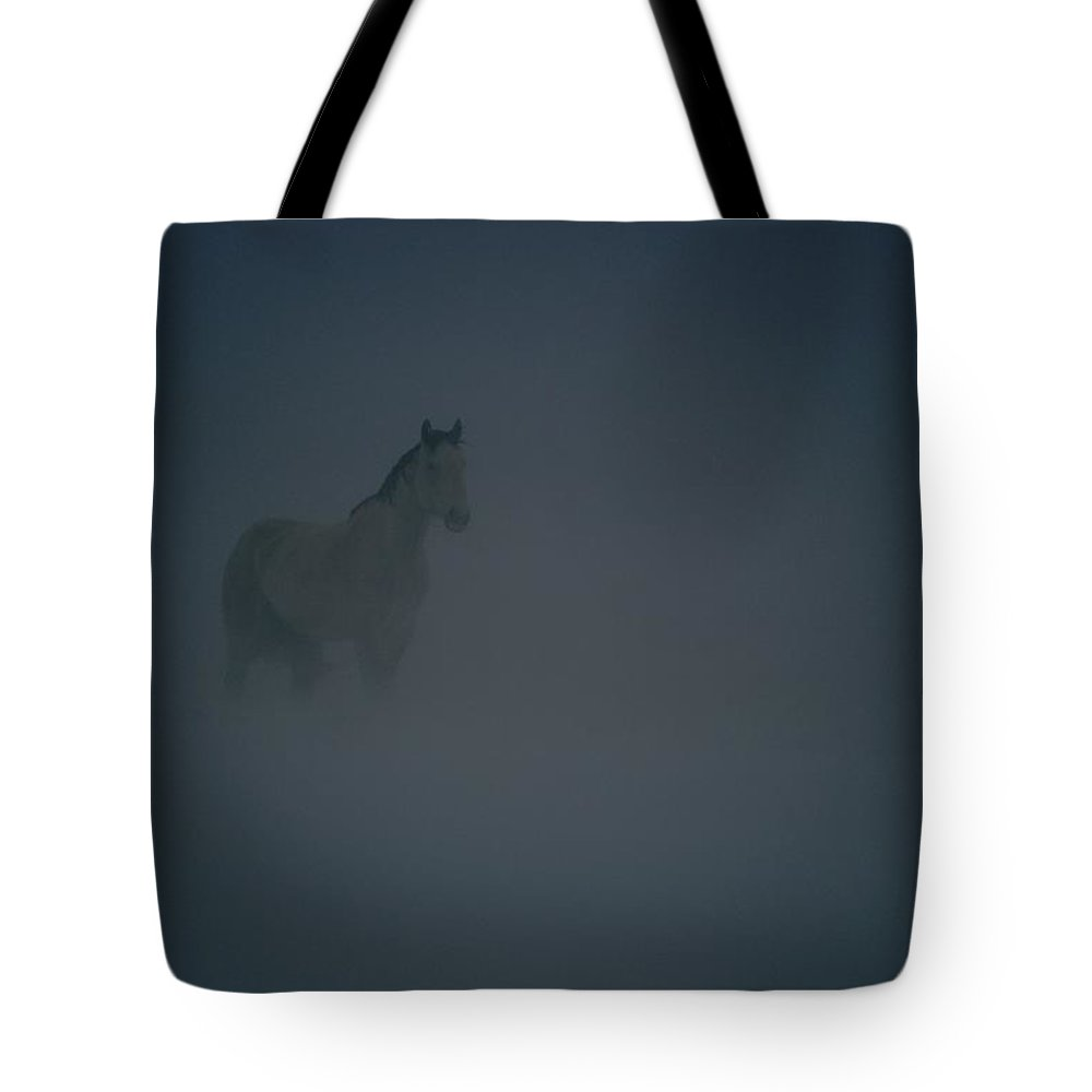 North America Tote Bag featuring the photograph Horse In A Snowstorm Near Boggs by Paul Chesley