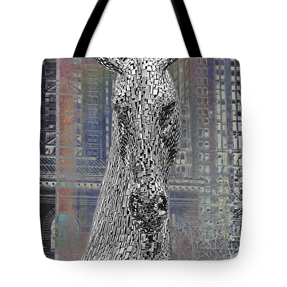 Horse Head Tote Bag featuring the photograph Horse In The City by Alice Gipson