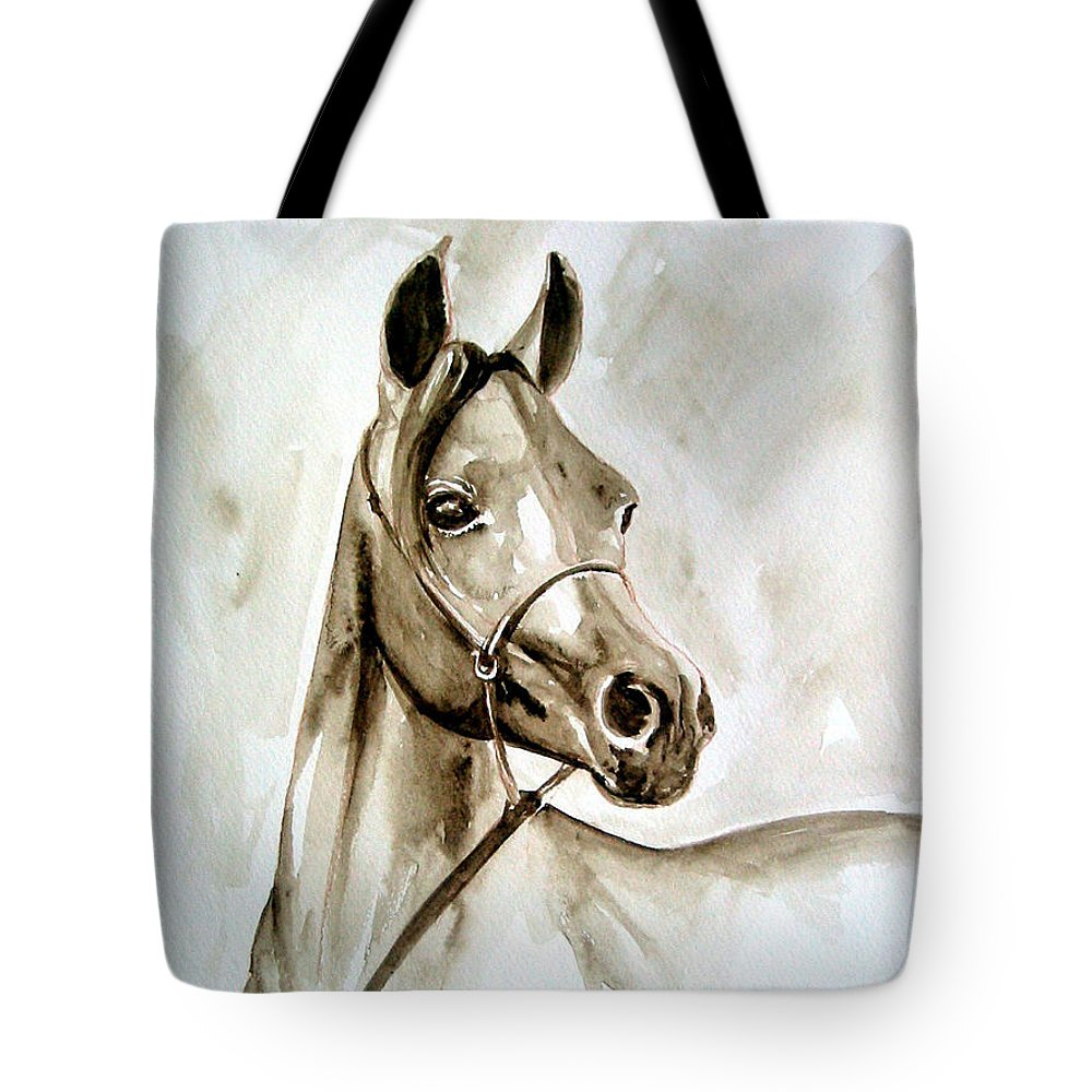 Portrait Of A Horse Tote Bag featuring the painting Horse by Leyla Munteanu