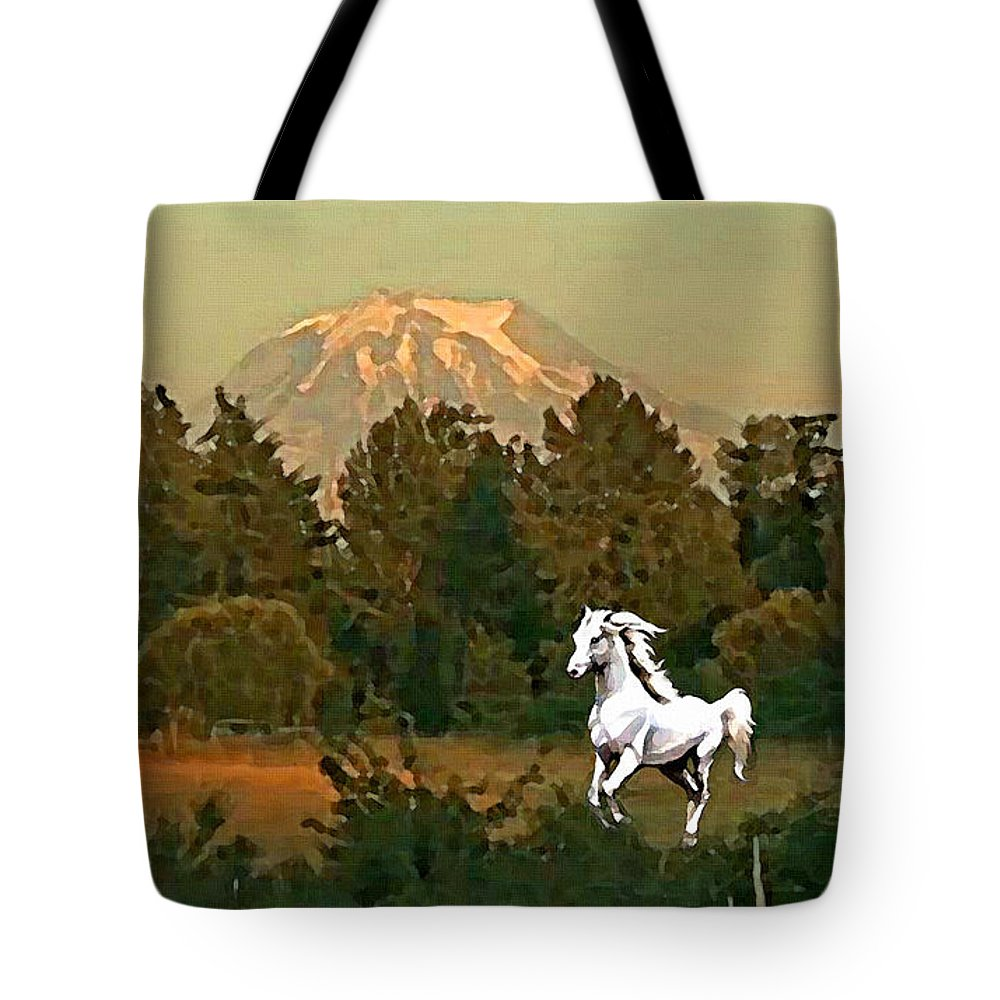 Horse Tote Bag featuring the painting Horse Mountain And Barn by Susanna Katherine