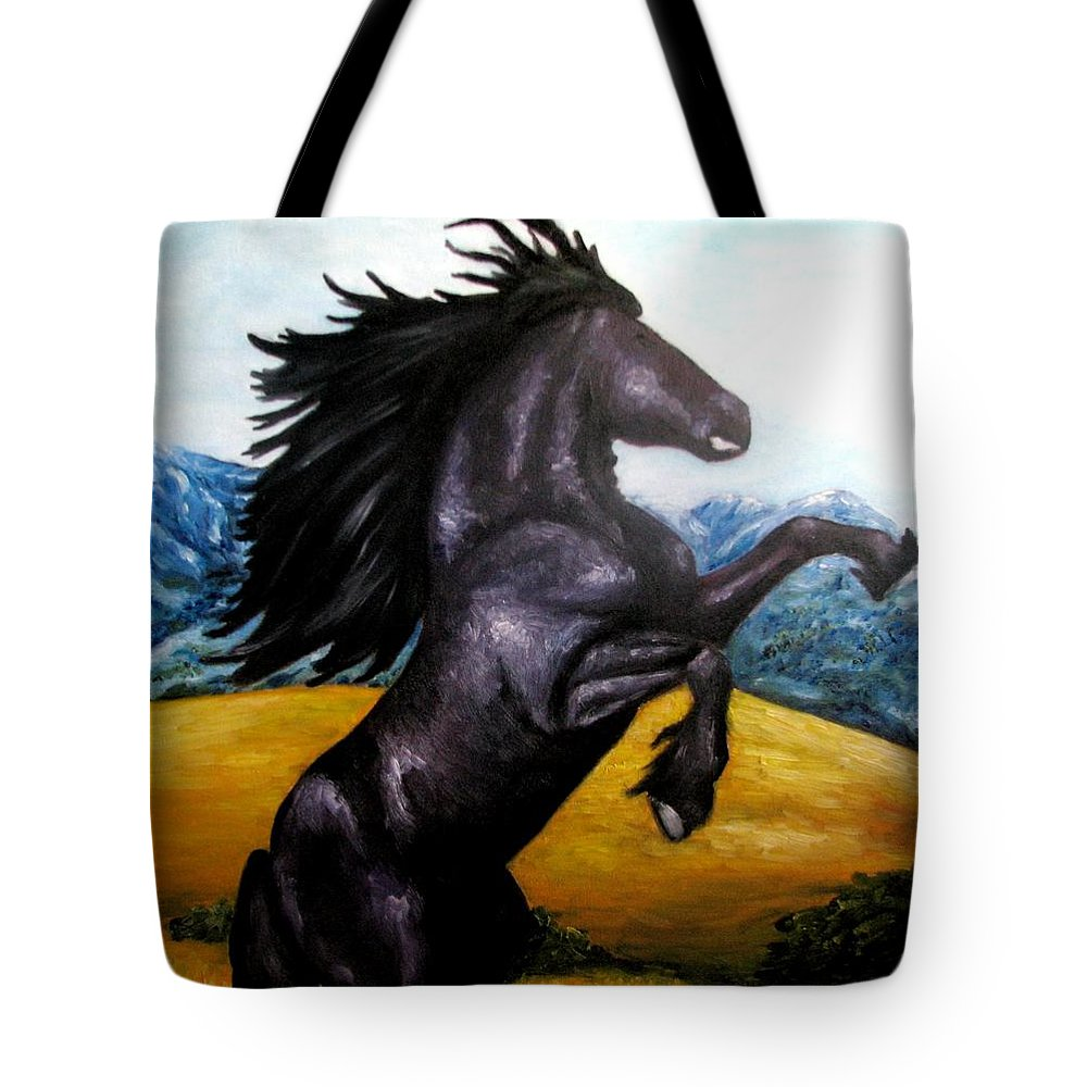 Horse Tote Bag featuring the painting Horse Oil Painting by Natalja Picugina