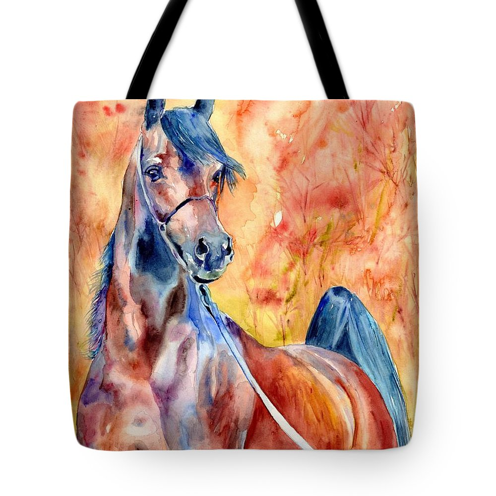 Horse Tote Bag featuring the painting Horse on the orange Background by Suzann Sines