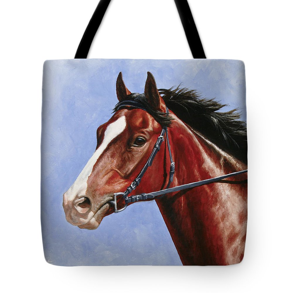 Horse Tote Bag featuring the painting Horse Painting - Determination by Crista Forest