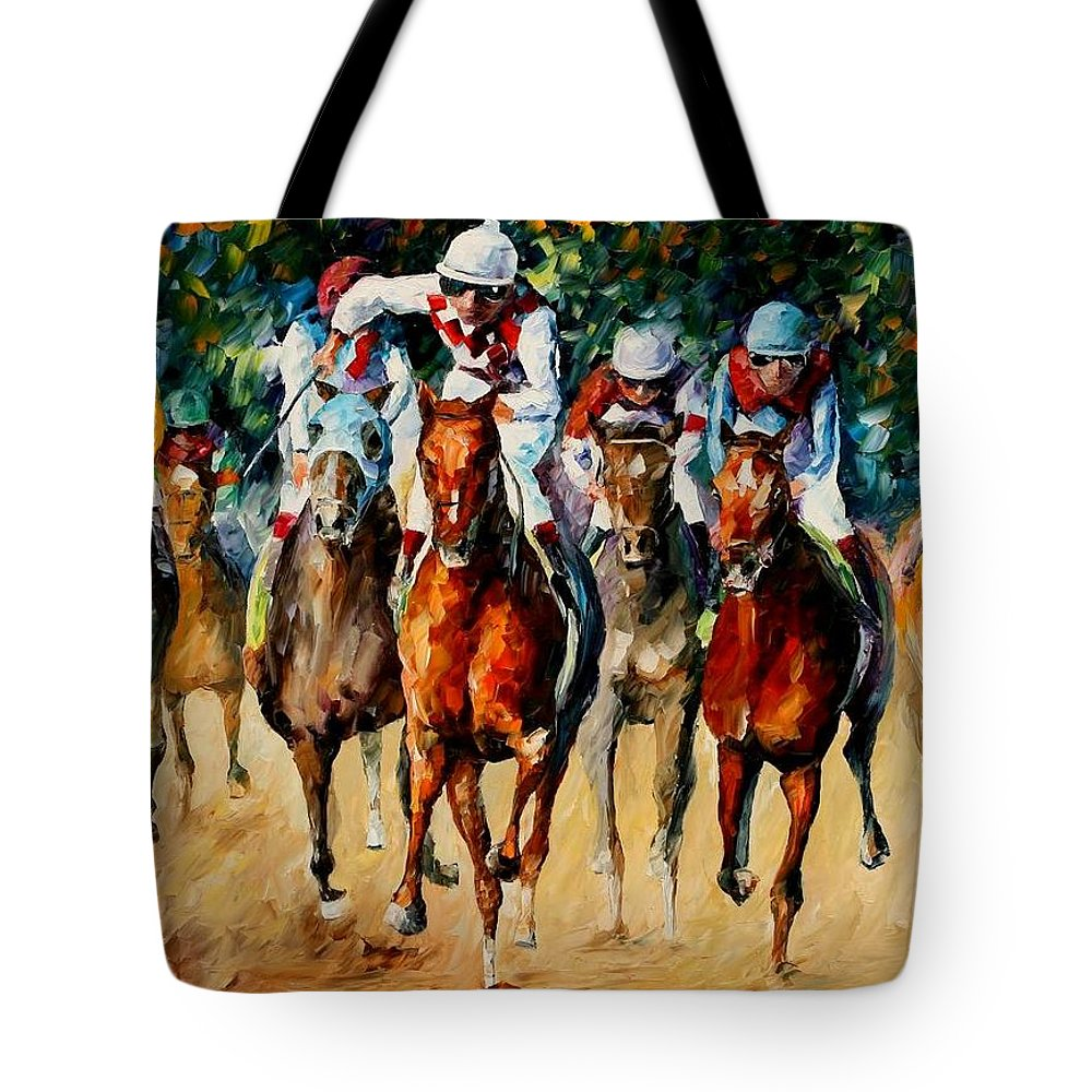 Afremov Tote Bag featuring the painting Horse Race by Leonid Afremov