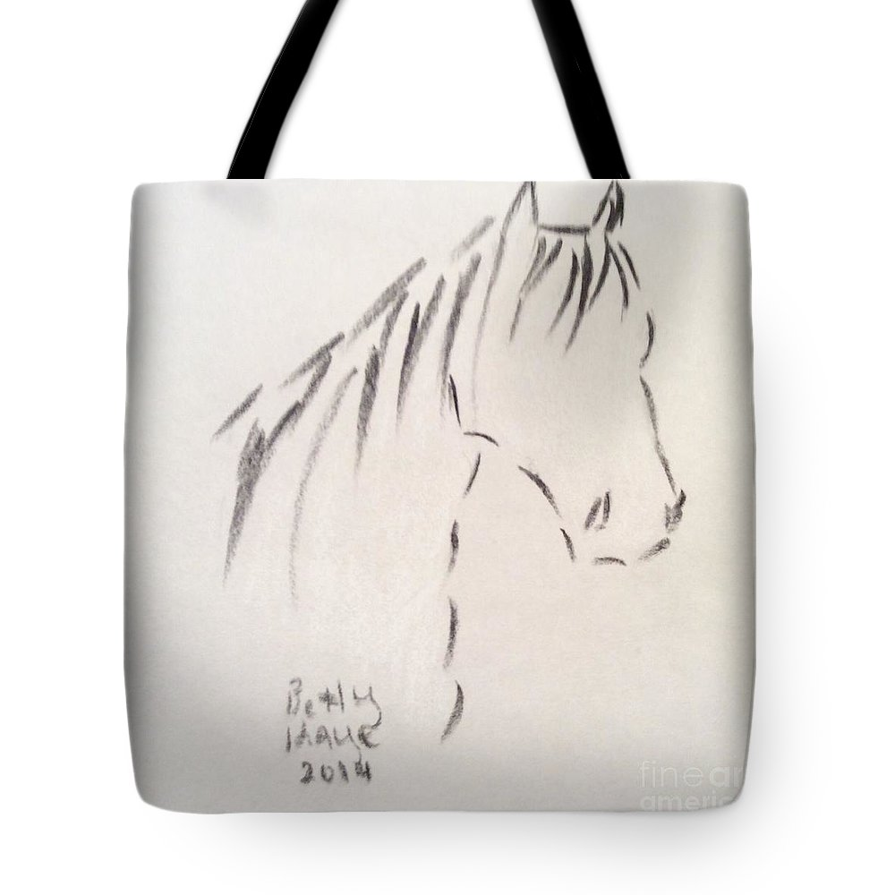 Horse Tote Bag featuring the drawing Horse-rest by Betty Kaye