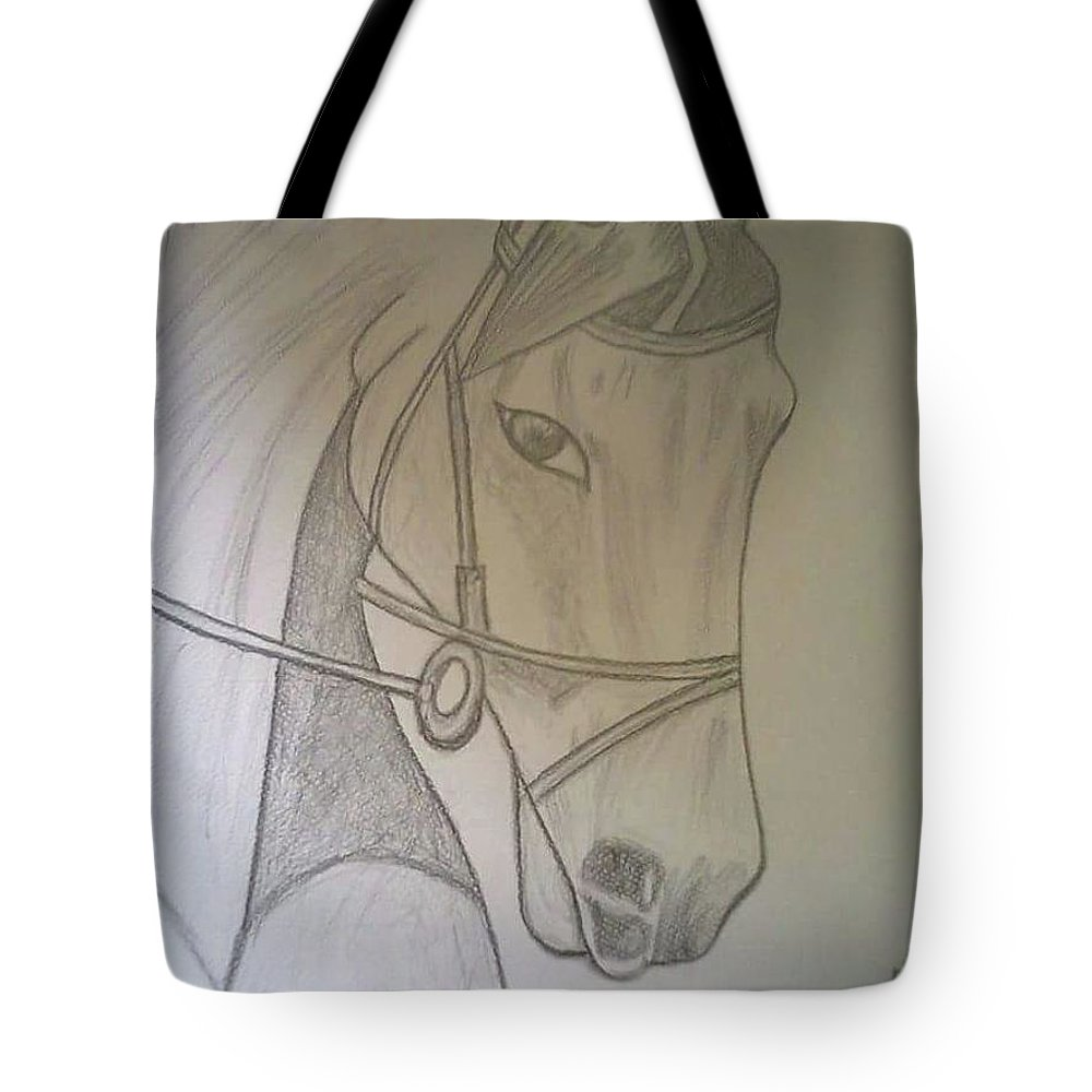 Horse Tote Bag featuring the drawing Horse by Saad Dilawer