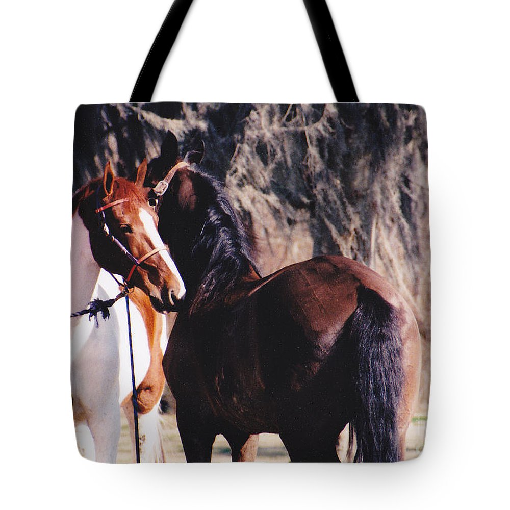 Horses Tote Bag featuring the photograph Horse Talk by Michelle Powell