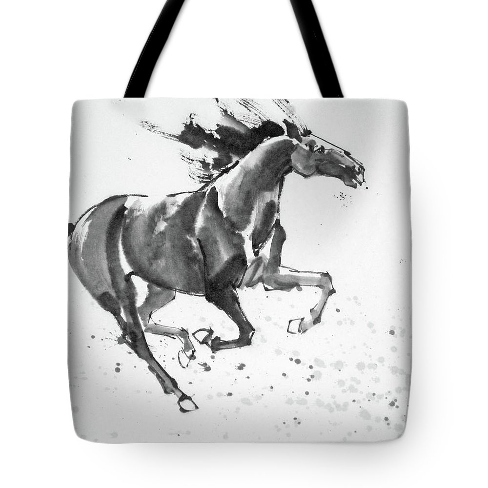 Art Ink Painting Tote Bag featuring the drawing horse to the East by Olga Sumarokova