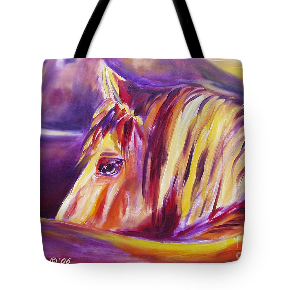 Horses Tote Bag featuring the painting Horse World Detail by Gina De Gorna
