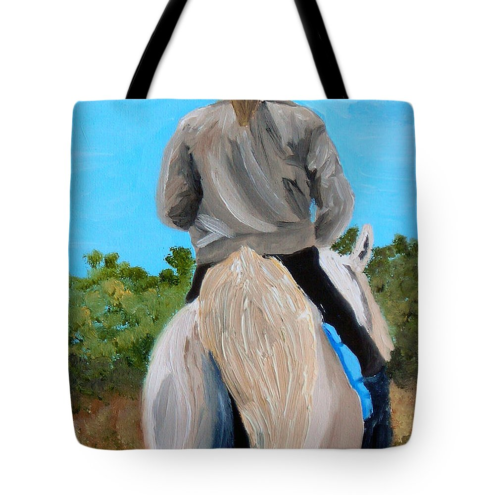 Horses Tote Bag featuring the painting Horseback Ridding by Michael Lee