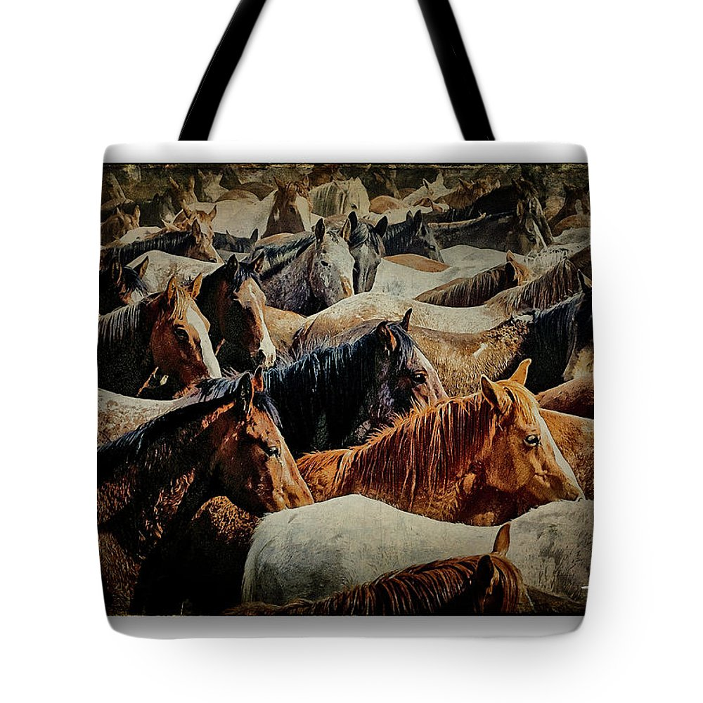 Horses Tote Bag featuring the photograph Horses 29 by Ingrid Smith-Johnsen