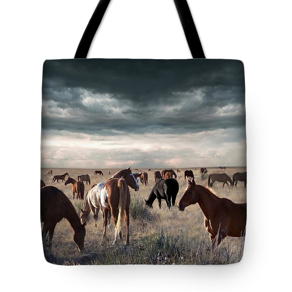 Horses Tote Bag featuring the digital art Horses Forever by Bill Stephens