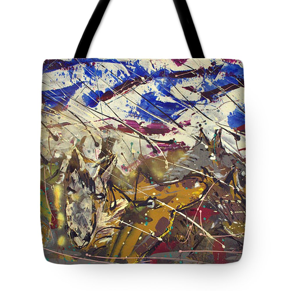 Abstract Painting Tote Bag featuring the painting Spirit Of The Horses by J R Seymour